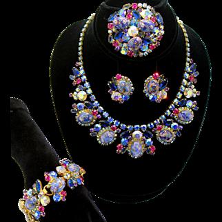 Vintage Juliana Book Piece Purple Easter Egg Stippled Cabochon Rhinestone Necklace Bracelet Brooch Earrings Grand Parure