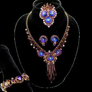 Vintage Juliana Book Piece Purple Amethyst Heliotrope Margarita Rhinestone Necklace, Bracelet, Brooch, Earrings Grand Parure