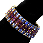 Vintage Kramer 4 Row Invisibly Set Rhinestone Bracelet Square Chatons Blue Ice Purple