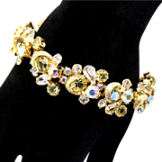 Vintage Kramer Jonquil Yellow Clear and AB Rhinestone Metal Swirl Bracelet