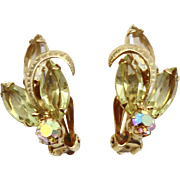 Vintage Kramer Jonquil Yellow Clear and AB Rhinestone Metal Swirl Earrings