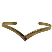 Vintage V Shaped Delicate Blue Rhinestone Bracelet