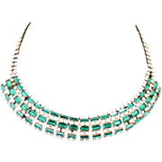 Vintage Emerald Green Rhinestone & Milk Glass Necklace