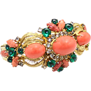 Vintage Juliana (D&E) |Book Piece Coral High Domed & Green Glass Cabochon Clamper Bracelet