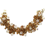 Vintage Juliana (D&E) Topaz & AB Crystal Bead and Rhinestone Bracelet