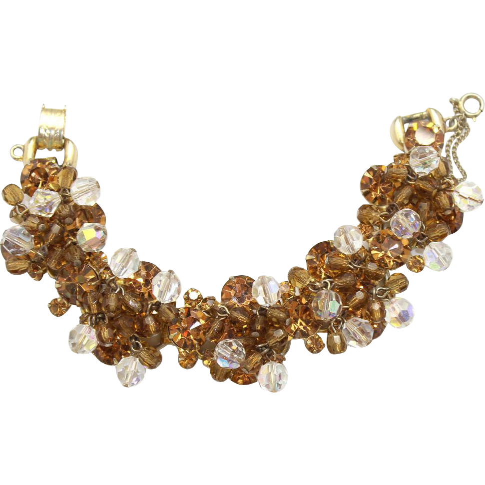 Vintage Juliana Topaz AB Crystal Bead and Rhinestone Bracelet