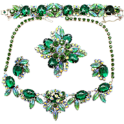 Vintage Juliana (D&E) Book Piece Green Cabochon Molded Glass Leaves Rhinestone Grand Parure