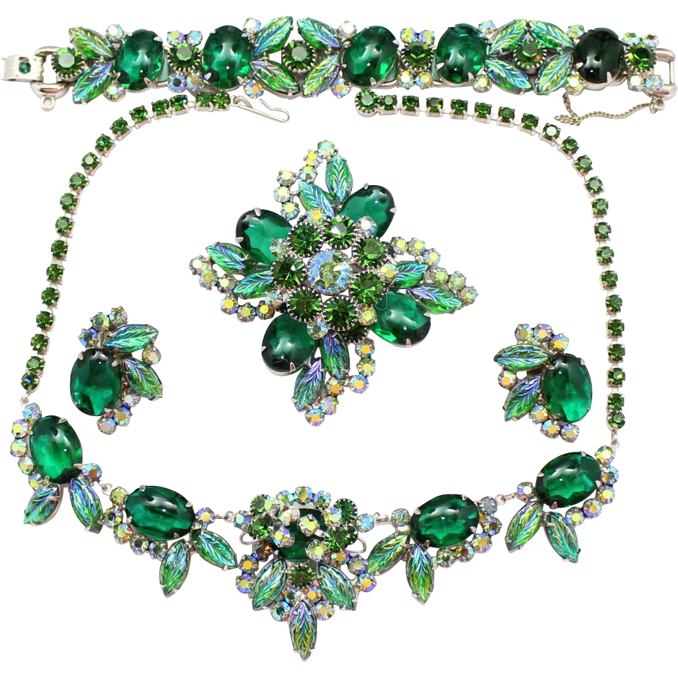 Vintage Juliana (D and E) Book Piece Green Cabochon Molded Glass Leaves Rhinestone Necklace, Bracelet, Brooch and Earrings Grand Parure