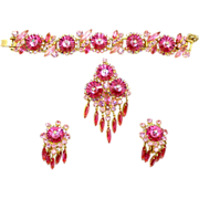 Vintage Juliana (D&E) Book Piece Pink Margarita and Rhinestone Parure