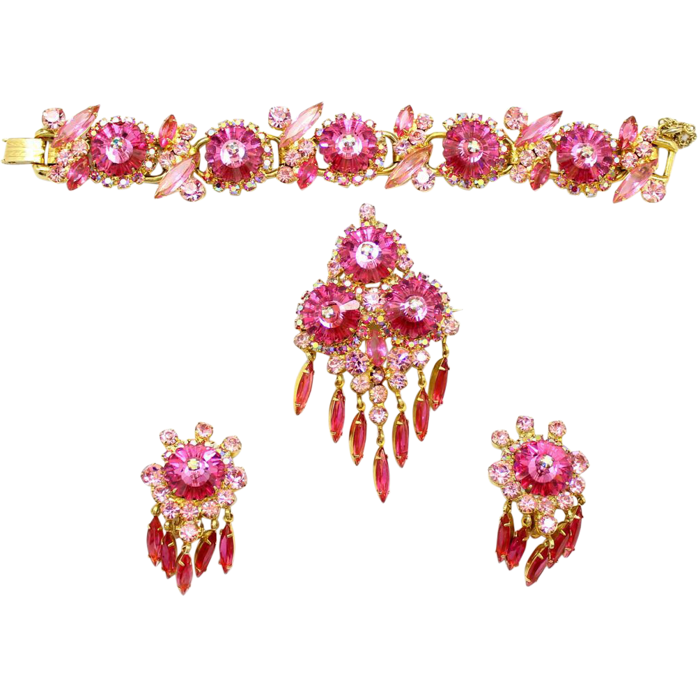 Vintage Juliana (D and E) Book Piece Pink Margarita and Rhinestone Brooch Pendant / Brooch and Dangle Earrings Parure