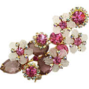 Vintage Juliana (D&E) Book Piece Pink, AB & Lavender Rhinestone & White Flower Petal Brooch