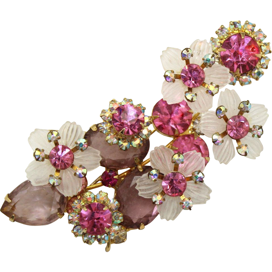 Vintage Juliana Book Piece Pink, AB Lavender Rhinestone White Flower Petal Brooch