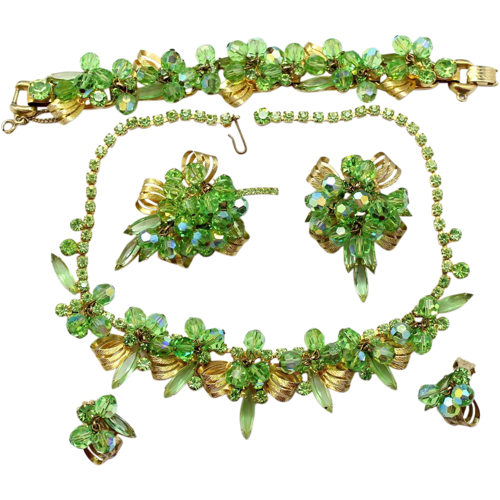 Vintage Juliana Book Piece Peridot Green Bead Rhinestone Ribbon Casting Necklace, Bracelet, Brooches, Pin / Pendant and Earrings Grand Parure