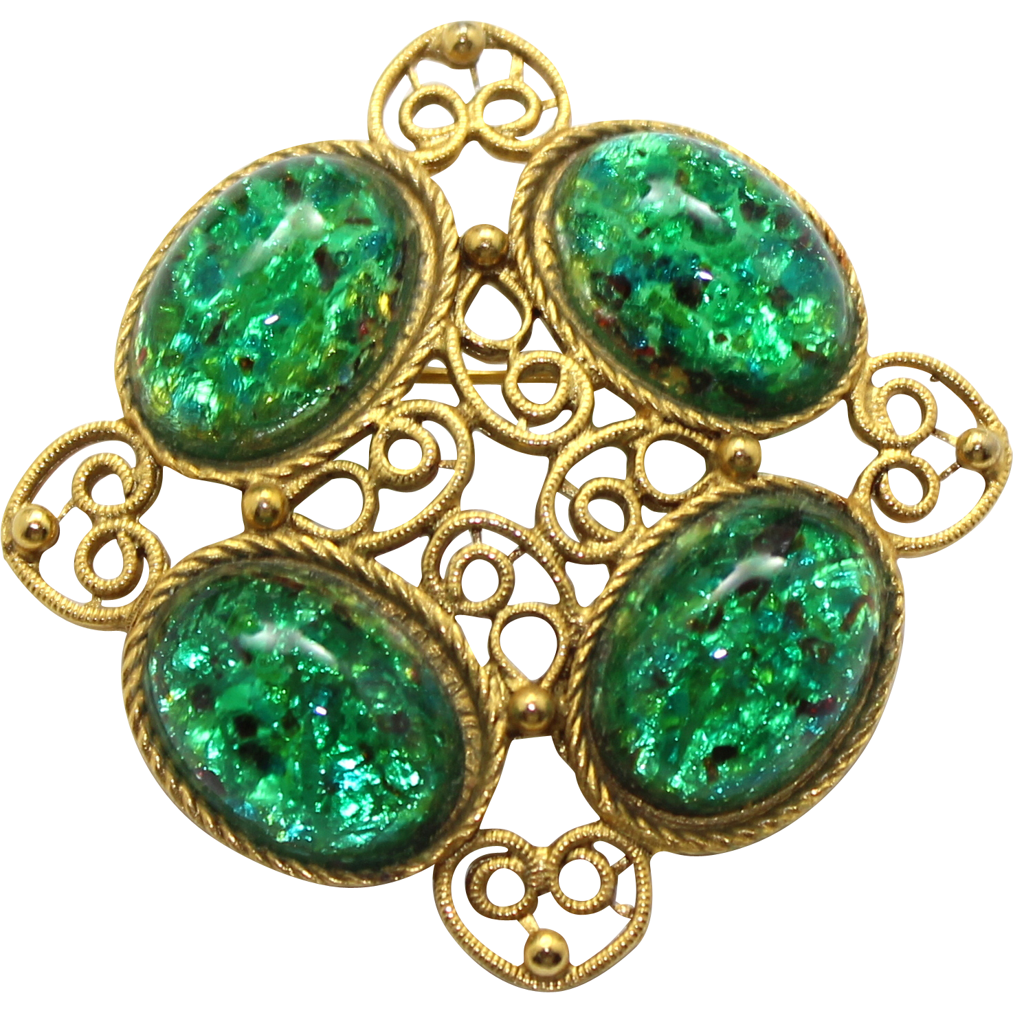 Vintage Juliana (D and E) Book Piece Green Glitter Opal Glass Cabochon Brooch