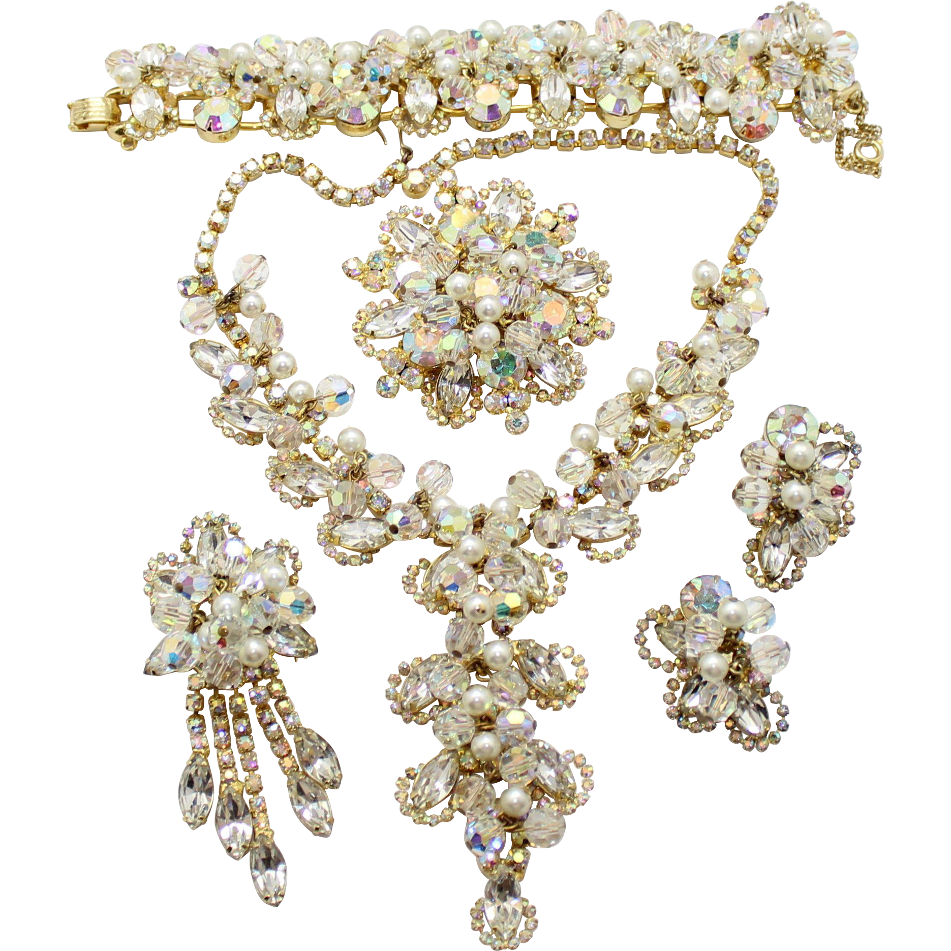 Vintage Juliana (D&E) Clear Rhinestone, Faux Pearl and Crystal Bead Grand Parure