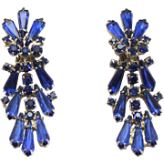 Vintage Juliana (D&E) Book Piece Blue Spear Shaped Rhinestone Dangle Earrings