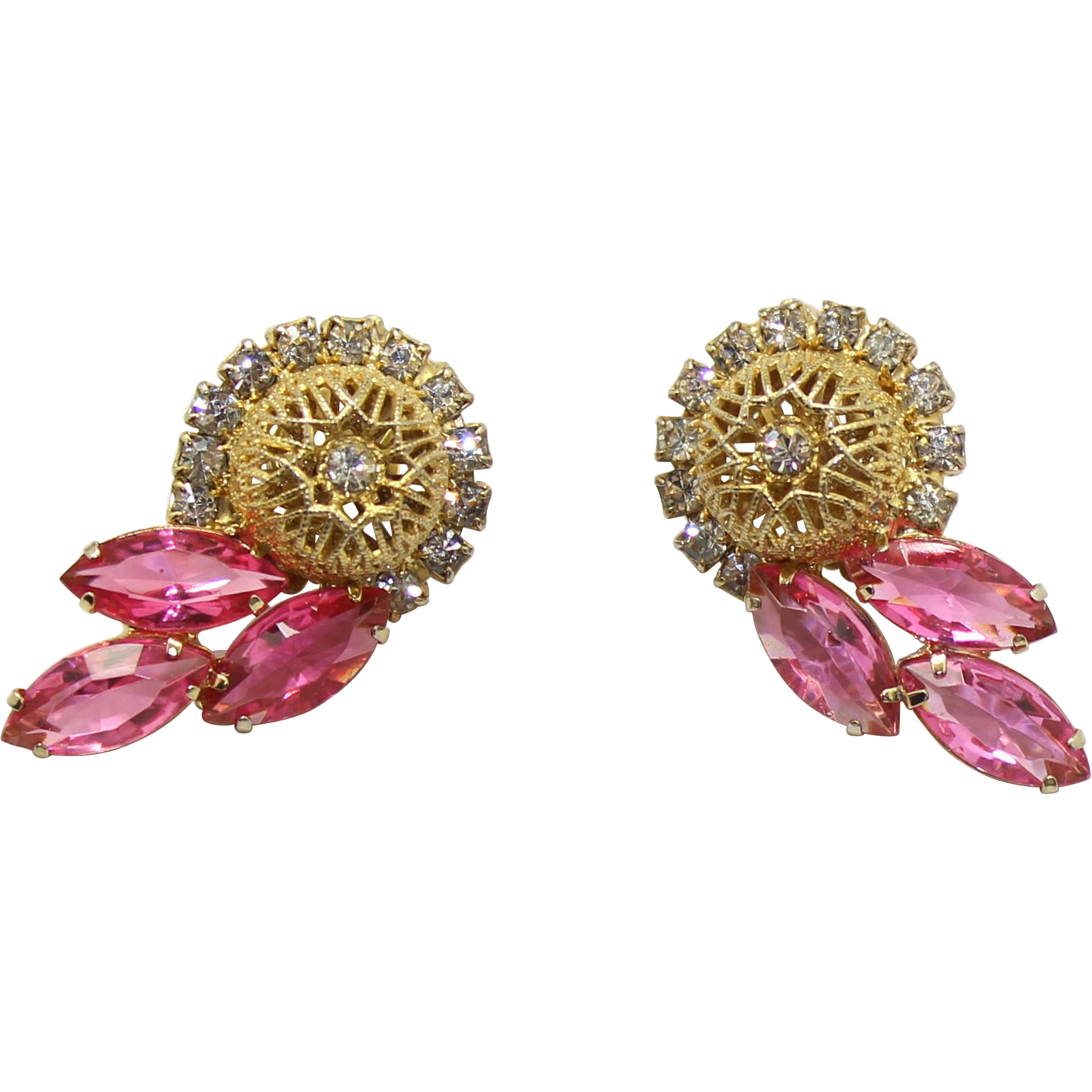 Vintage Juliana (D&E) Book Piece Pink Rhinestone & Filigree Ball Earrings