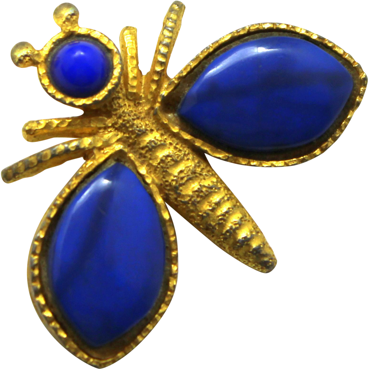 Vintage Juliana (D&E) Book Piece Blue Heat Formed Plastic Bug Brooch