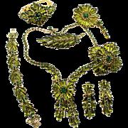 Vintage Juliana (D&E) Book Piece Olivine Green Spear Rhinestone Grand Parure