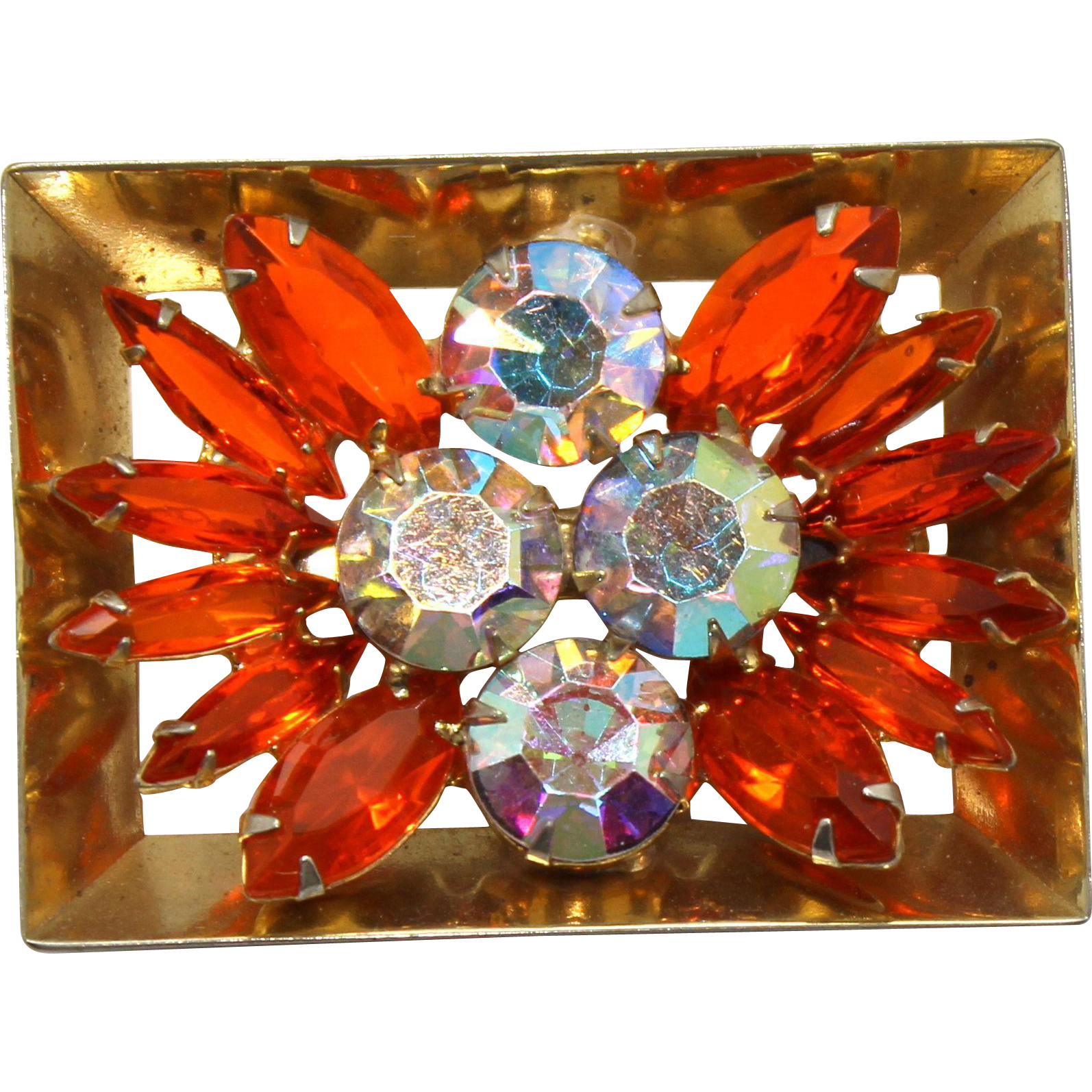 Vintage Juliana (D&E) Book Piece Framed Flower Orange Rhinestone Brooch
