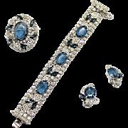 Vintage Juliana (D&E) Blue & Clear Rhinestone & Metal Scroll Work Parure