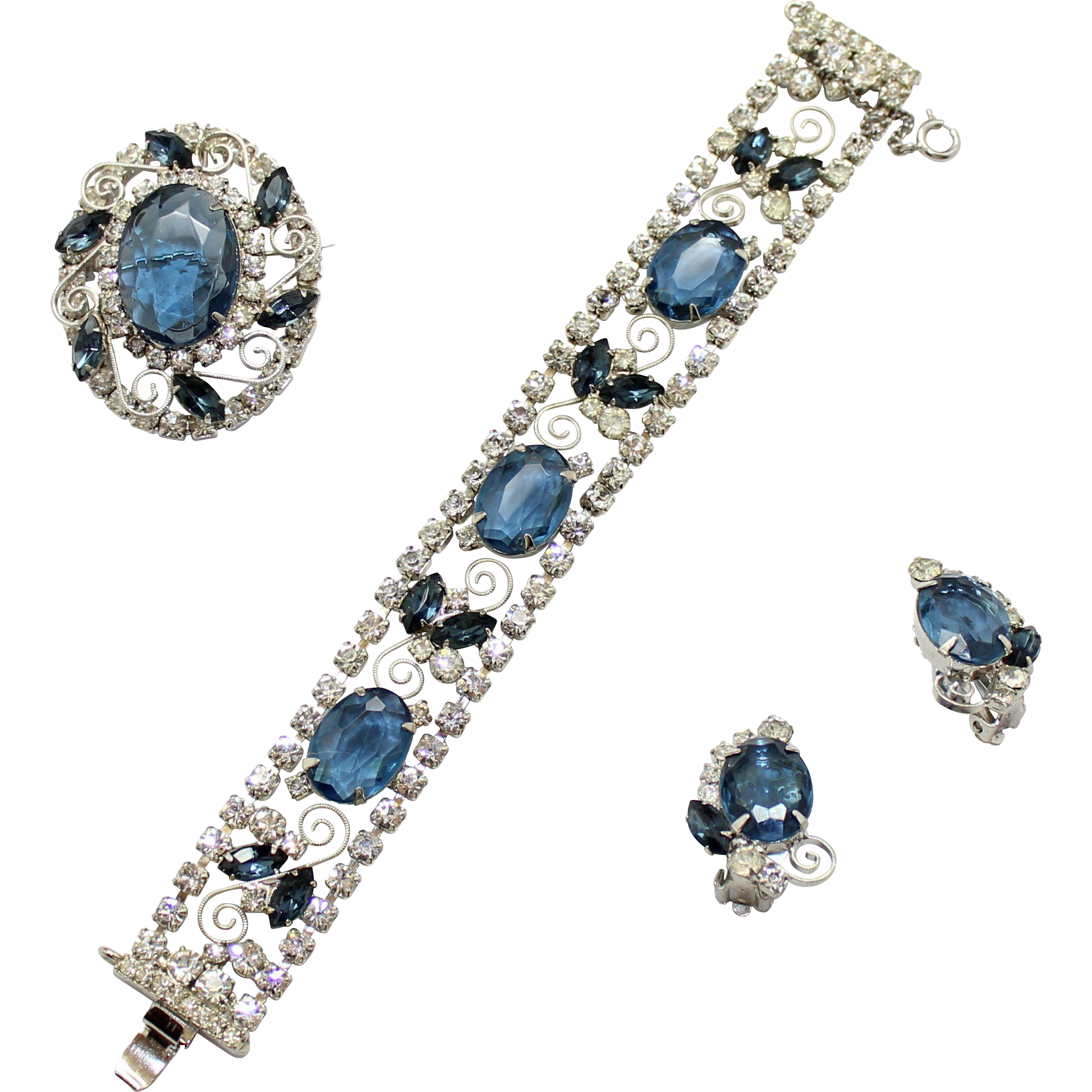 Vintage Juliana (D and E) Blue and Clear Rhinestone and Metal Scroll Work Bracelet, Brooch / Pendant and Earrings Parure
