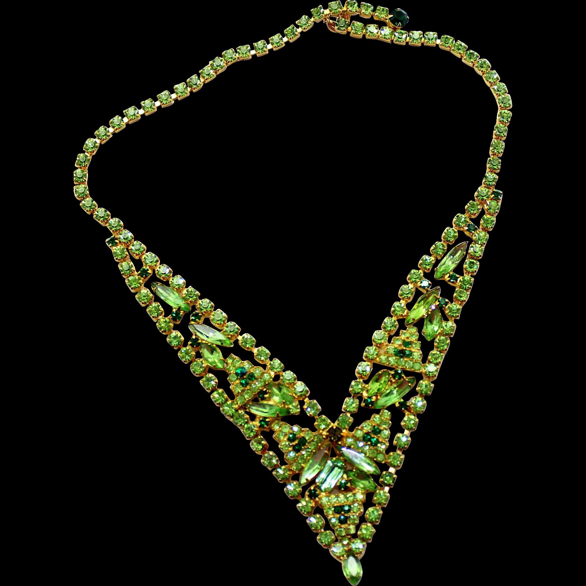 Vintage Juliana (D&E) Peridot, Green, & Olivine Rhinestone V shaped Necklace