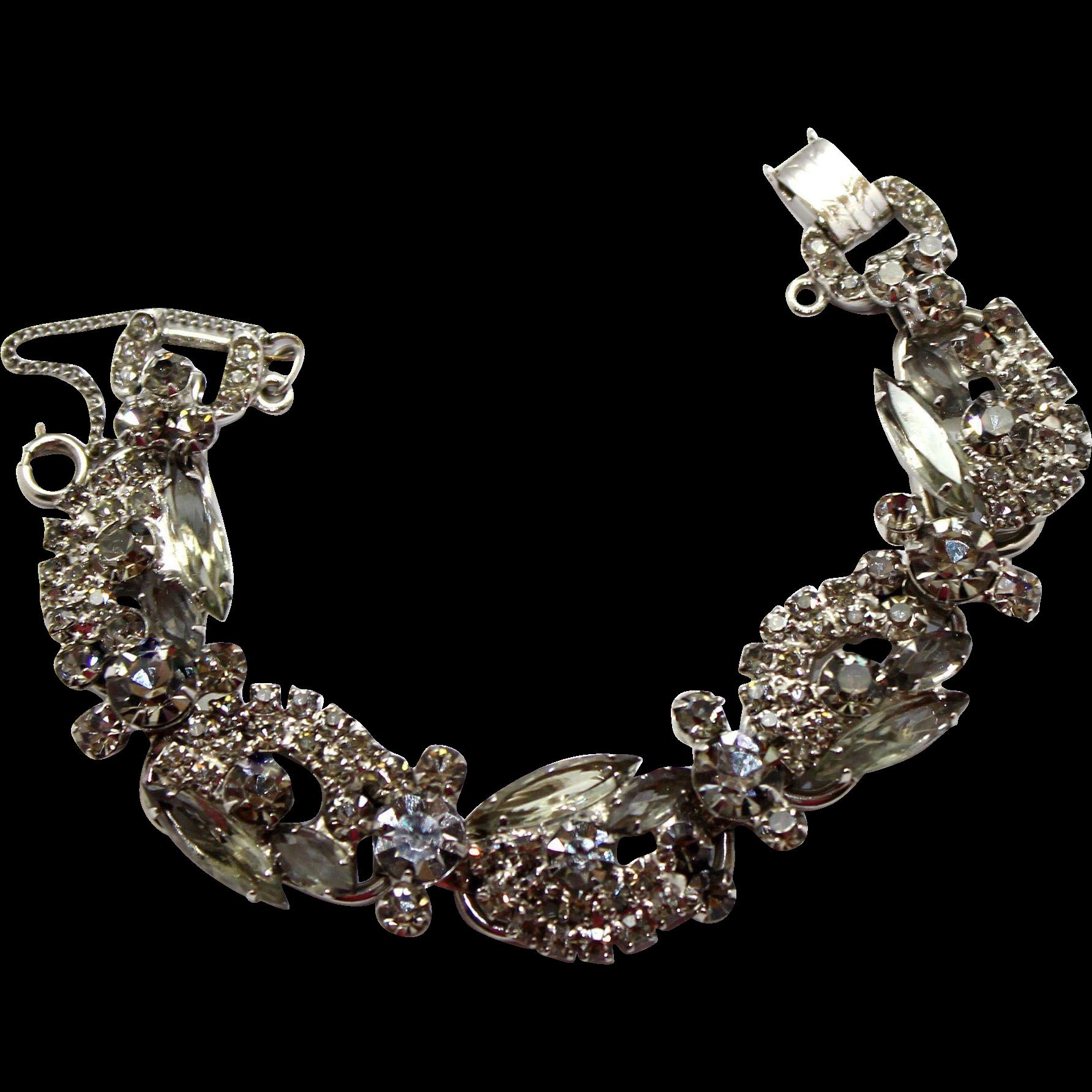 Vintage Juliana (D&E) Gray Rhinestone Ribbon Bracelet