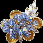 Vintage Juliana (D&E) Book Piece Blue Crystal Bead, Rhinestone & Half Cup Brooch
