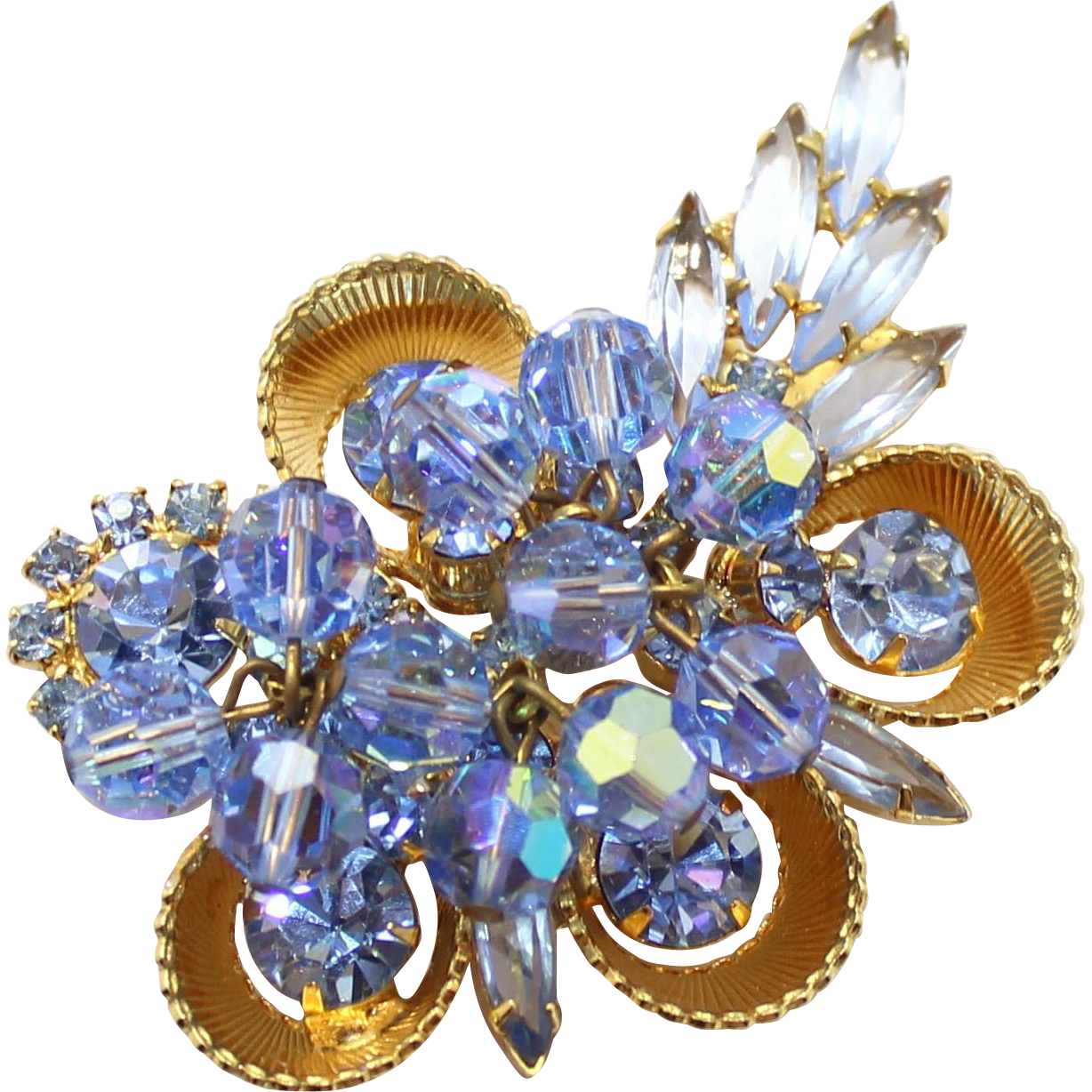 Vintage Juliana (D&E) Book Piece Blue Crystal Bead, Rhinestone & Half Cup Brooch