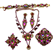 Vintage Juliana (D and E) Book Piece Watermelon, Purple, and Fuchsia Rhinestone Filigree Necklace, Bracelet, Brooch, Pin / Pendant and Dangle Earrings Grand Parure