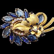 Vintage Juliana (D&E) Book Piece Blue & AB Rhinestone Metal Leaf Brooch