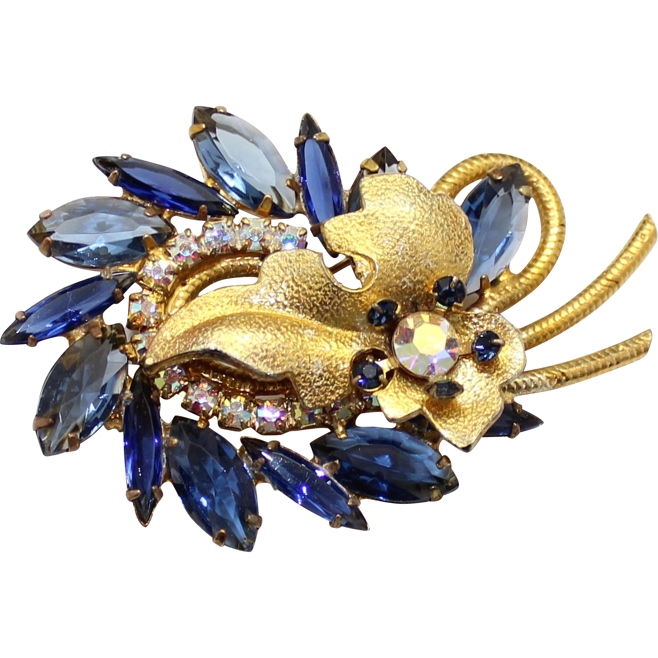 Vintage Juliana (D&E) Book Piece Blue & AB Rhinestone Metal Leaf Brooch