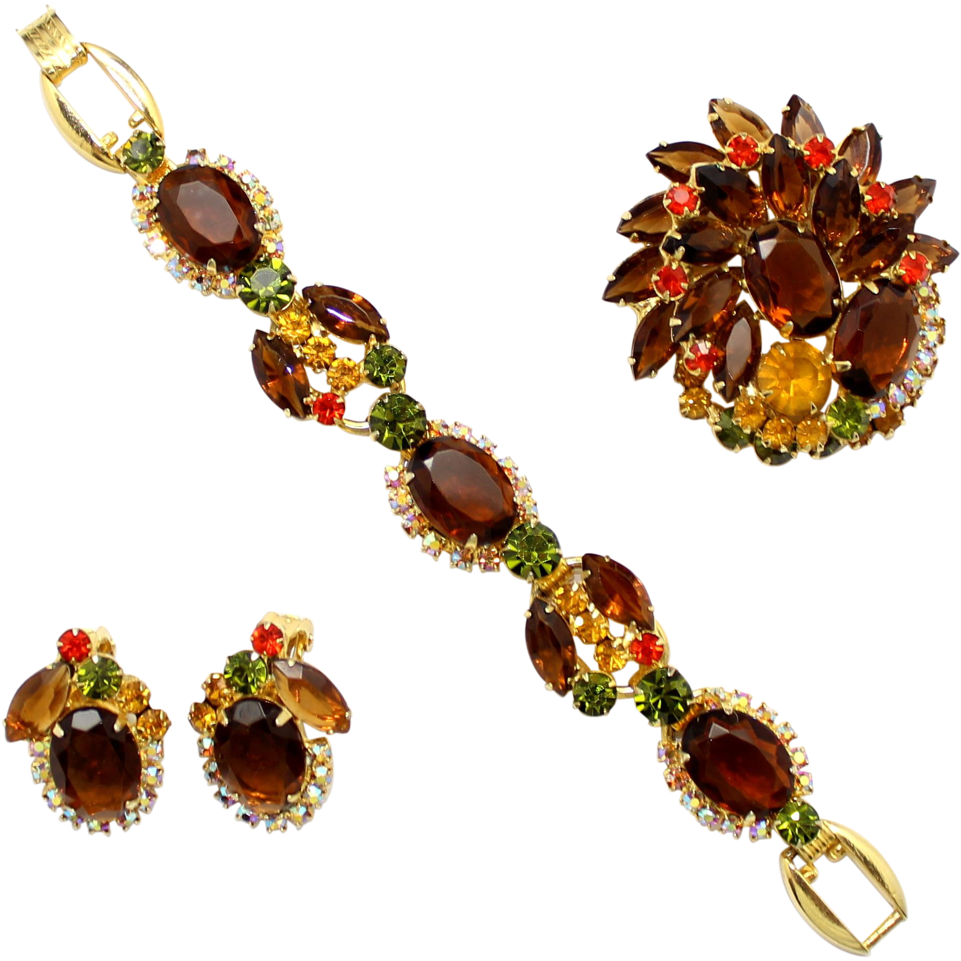 Vintage Juliana (D and E) Book Piece Topaz, Olivine and (orange) Sun Rhinestone Bracelet, Brooch and Earrings Parure