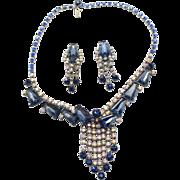 Vintage Blue Keystone Rhinestone Necklace and Earrings Demi Parure