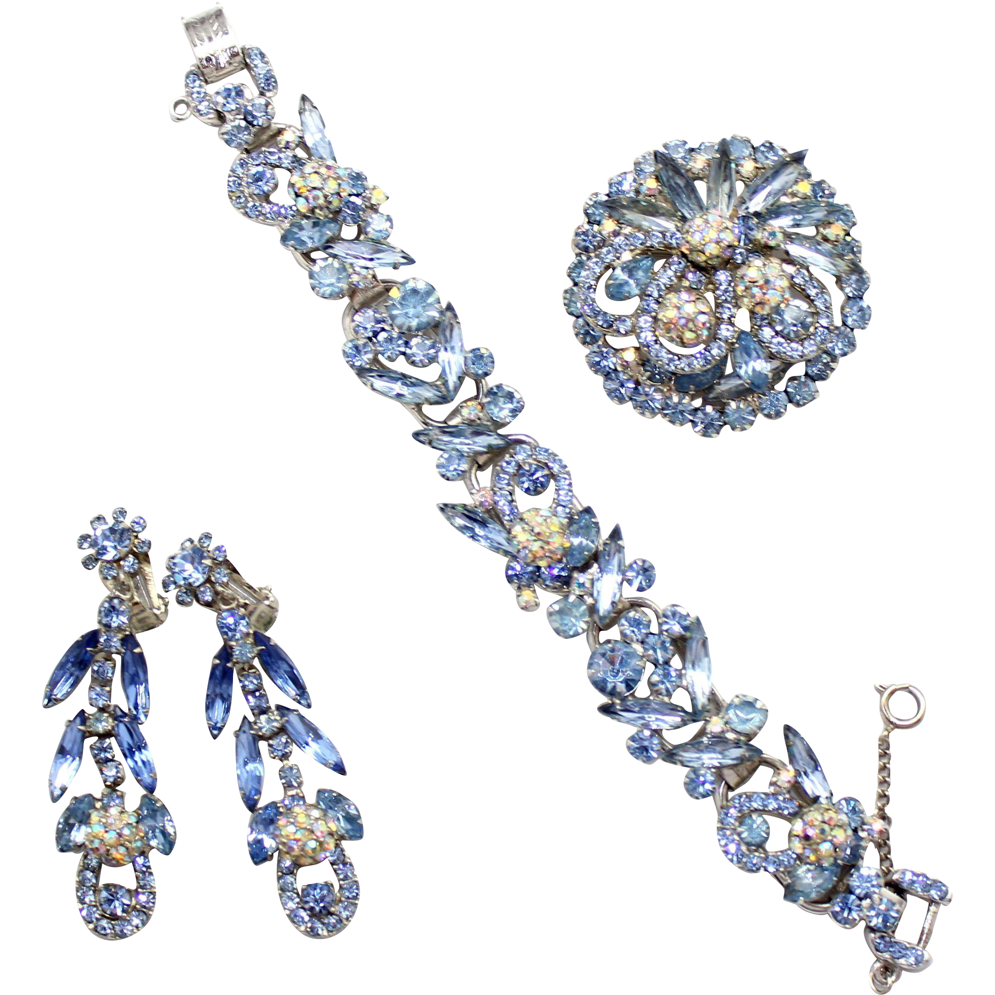 Vintage Juliana (D and E) Book Piece Baby Blue Rhinestone Bracelet, Brooch and Dangle Earrings Parure