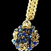 Vintage Juliana (D&E) NEW FIND Blue Rhinestone & Heart Scroll Ball Pendant Necklace