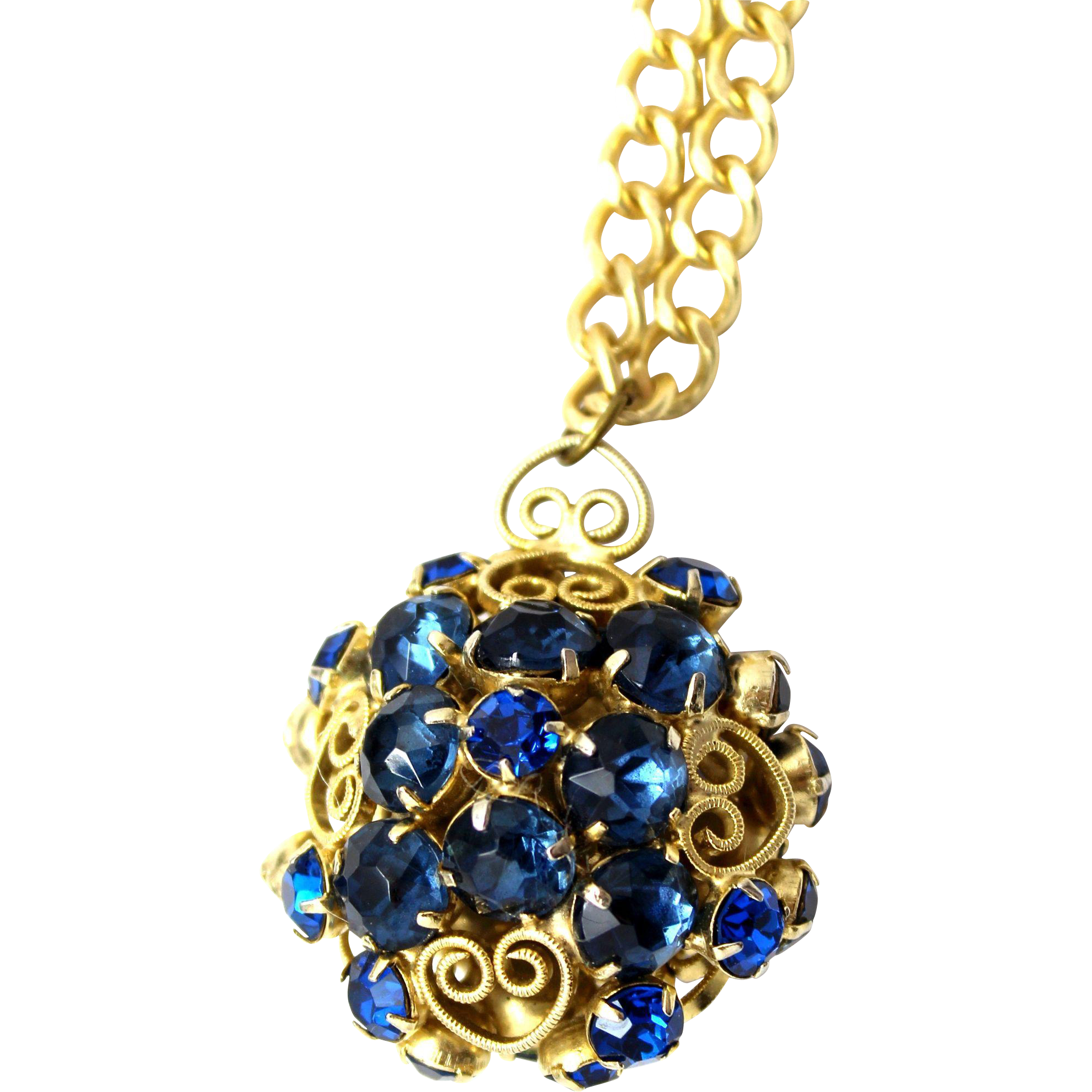 Vintage Juliana (D&E) NEW FIND Blue Rhinestone & Heart Scroll Ball Pendant Necklace
