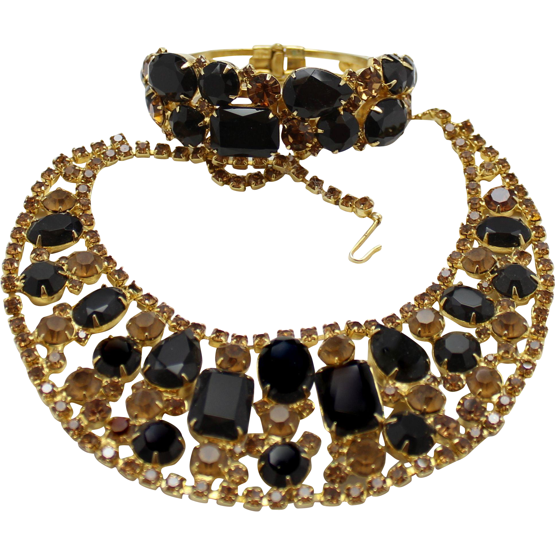 Vintage Juliana (D and E) Black and Topaz Rhinestone Bib Necklace and Clamper Bracelet Demi Parure