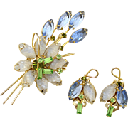 Vintage Juliana (D and E) Molded White Givre and Blue and Peridot Rhinestone Flower Brooch and Earrings Demi Parure