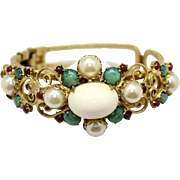 Vintage Juliana Faux Pearl,  Jade and Red Rhinestone Heart Scroll Clamper Bracelet