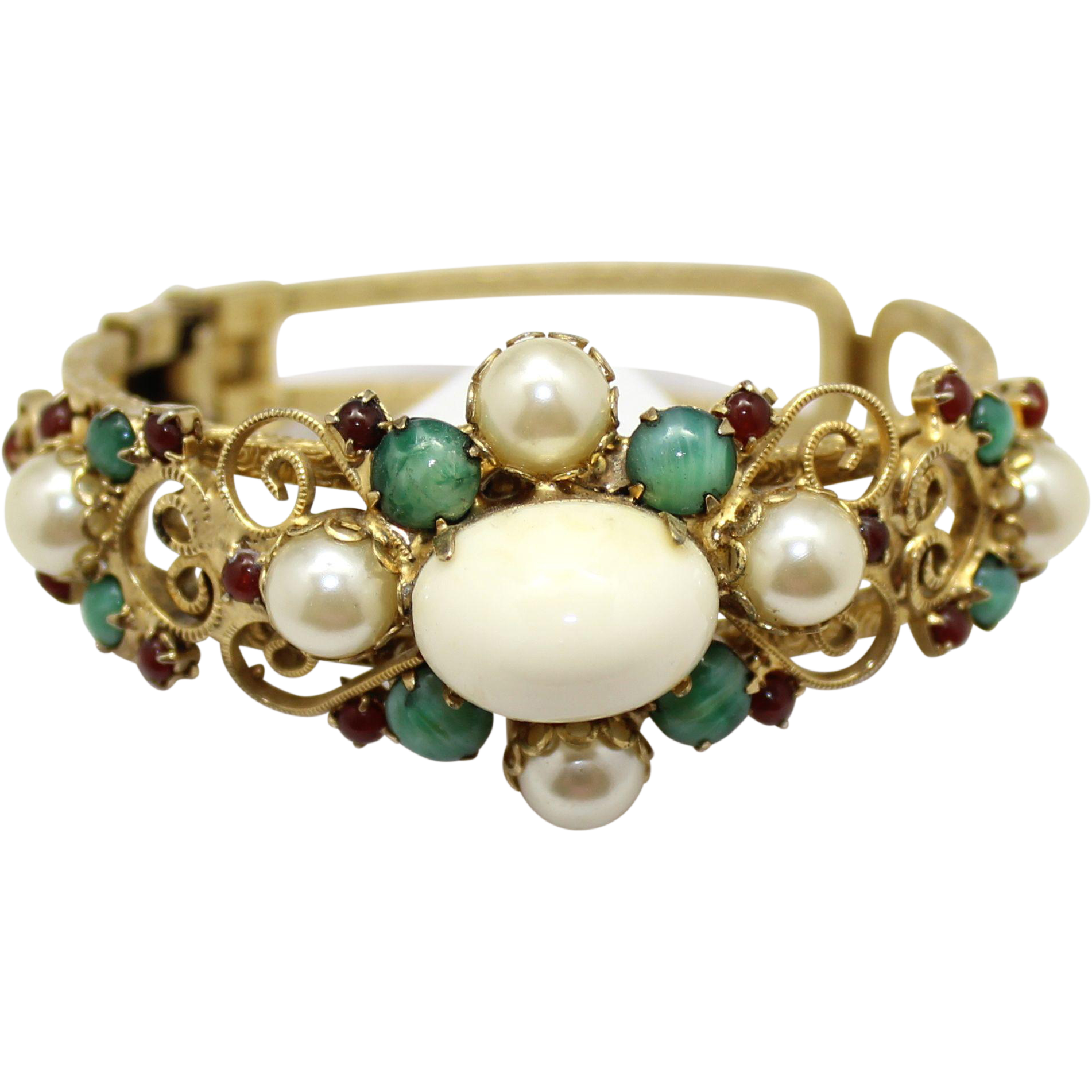 Vintage Juliana (D&E) Faux Pearl,  Jade and Red Rhinestone Heart Scroll Clamper Bracelet