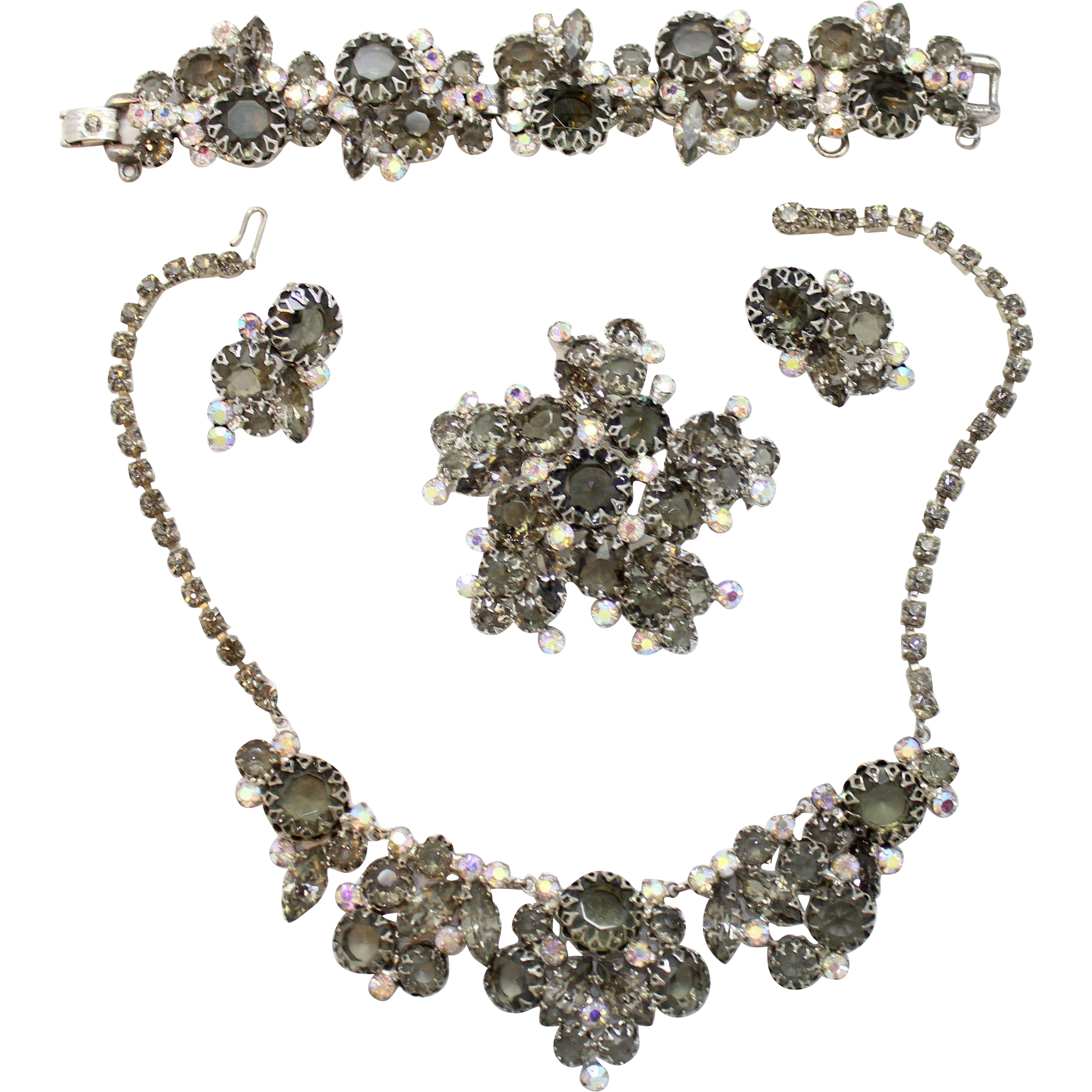 Vintage Juliana Black Diamond (Gray) Rhinestone Multi-Prong Necklace, Bracelet, Brooch and Earrings Grand Parure