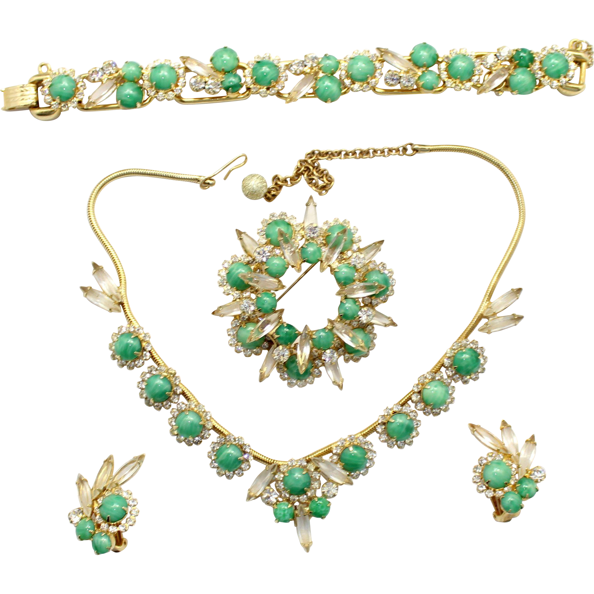 Vintage Juliana (D&E) Book Piece Jade Glass & Clear Rhinestone Grand Parure