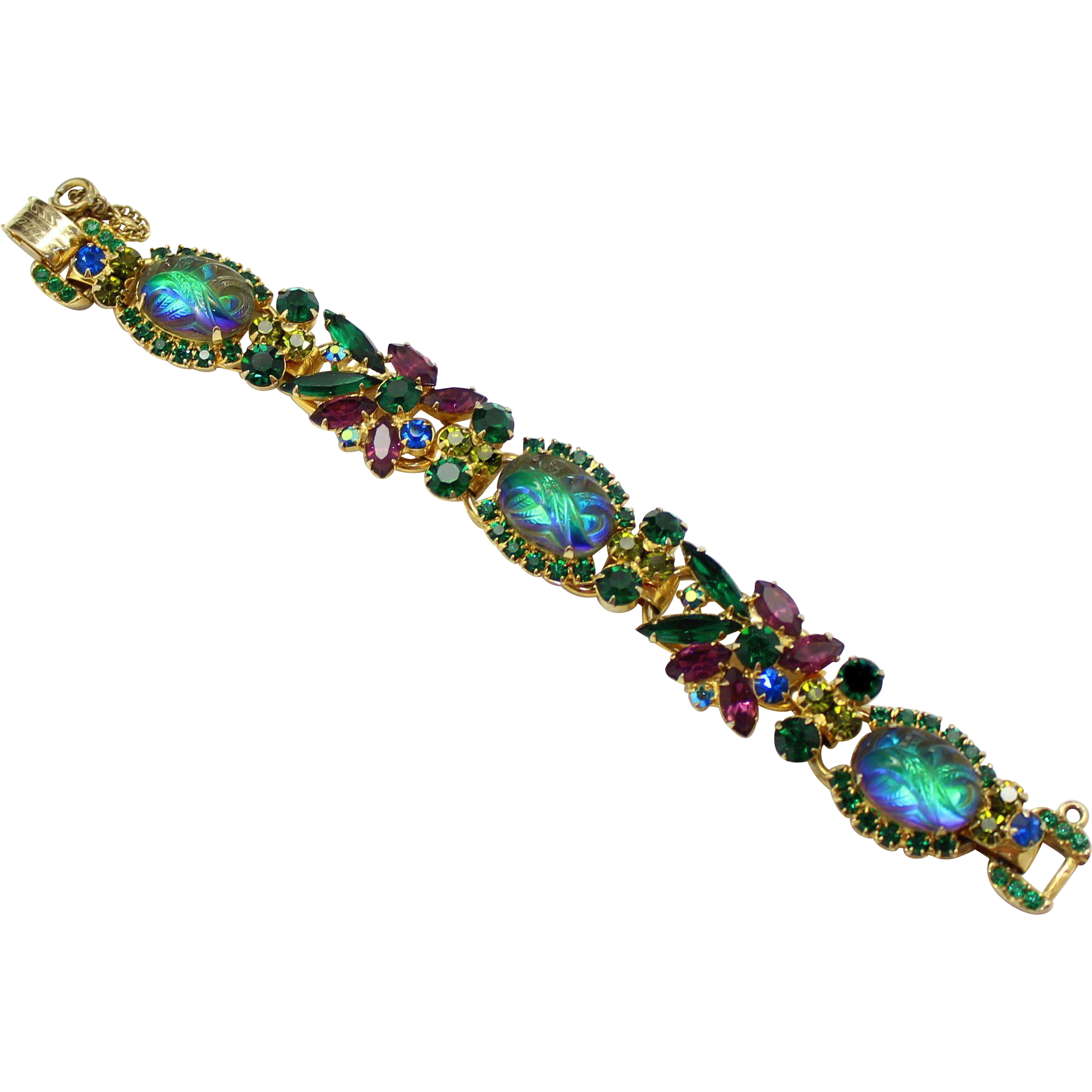 Vintage Juliana (D&E) Molded Watermelon, Green & Purple Rhinestone Bracelet