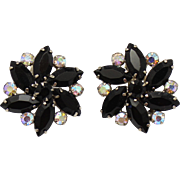 Vintage Juliana Black Navette and AB rhinestone Flower Earrings