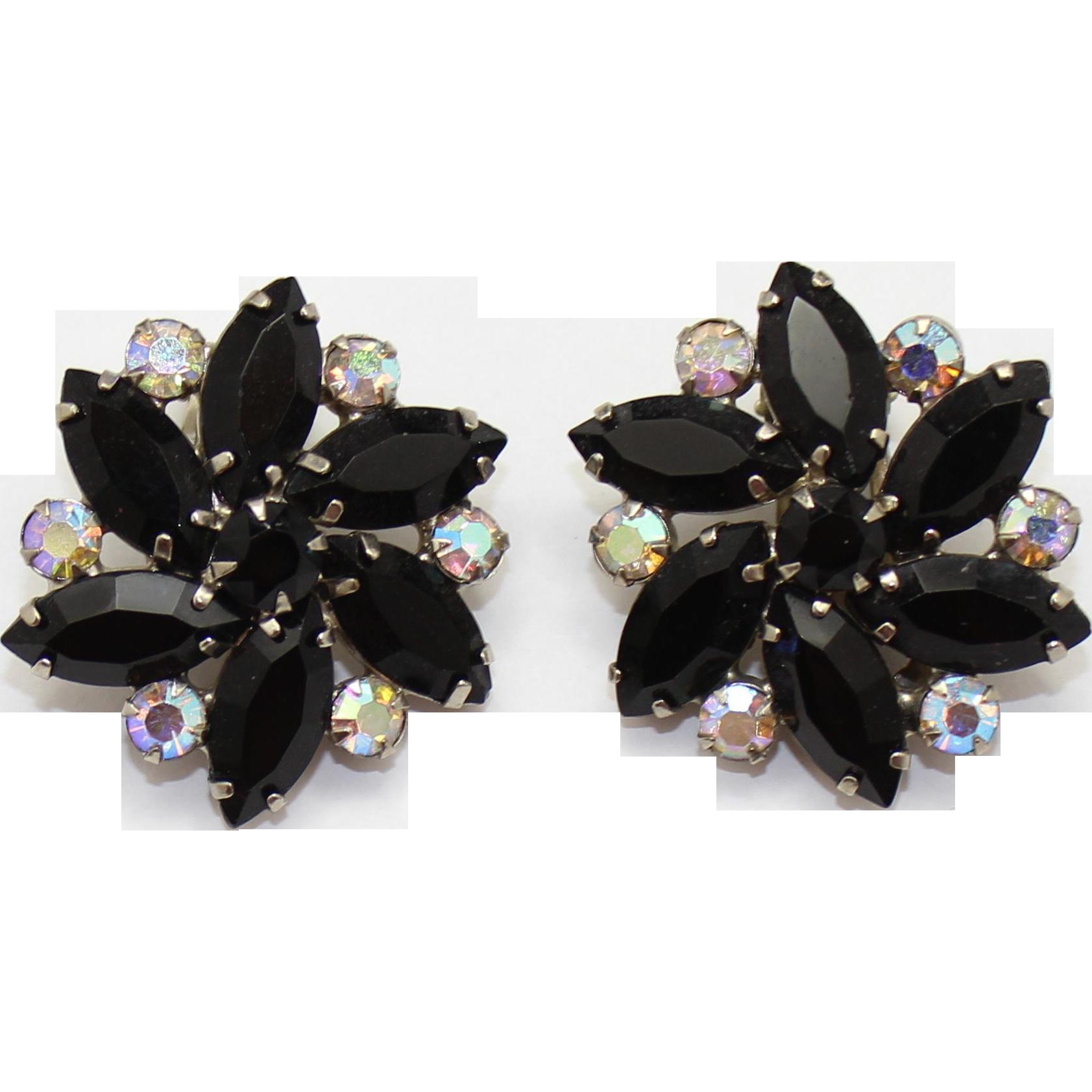 Vintage Juliana Black Navette and AB rhinestone Flower Earrings