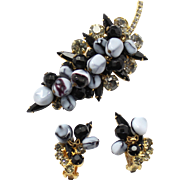 Vintage Juliana (D and E) Book Piece Black Nugget Bead and Rhinestone Brooch and Earrings Demi Parure