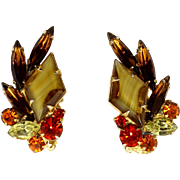 Vintage Juliana Book Piece Topaz Striped Diamond Orange Rhinestone Earrings
