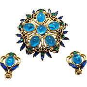 Vintage Juliana (D&E) Book Piece Blue, Green Cabochon Rhinestone & Faux Pearl Demi Parure